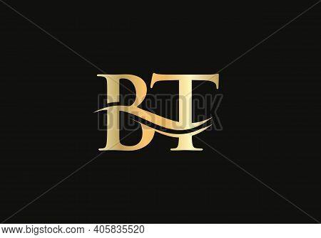 Initial Linked Letter Bt Logo Design. Modern Letter Bt Logo Design Vector With Modern Trendy