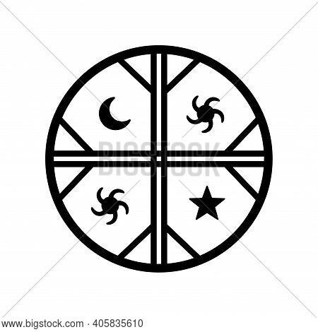 Kultrun Indigenous Symbol Of Mapuche Flag, Emblem Of The Mapuche Nation. Vector Design Illustration.
