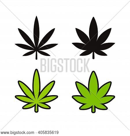 Cannabis Leaf Icon Set. Two Marijuana Varieties, Indica And Sativa. Black And White Silhouette And G