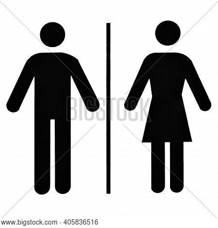 Unisex Bathroom Or Restroom Sign. Men And Woman Wc Symbol, Black Image On White Background.