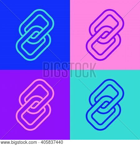 Pop Art Line Chain Link Icon Isolated On Color Background. Link Single. Hyperlink Chain Symbol. Vect