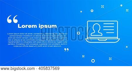 White Line Laptop With Resume Icon Isolated On Blue Background. Cv Application. Searching Profession