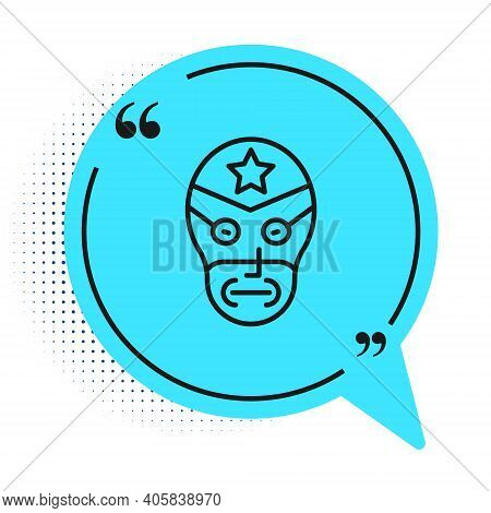 Black Line Mexican Wrestler Icon Isolated On White Background. Blue Speech Bubble Symbol. Vector