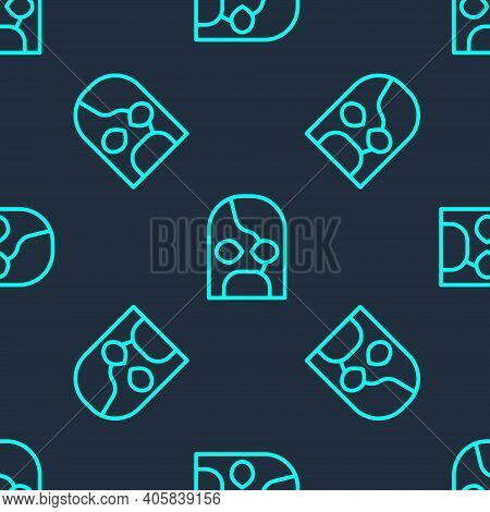 Green Line Mexican Wrestler Icon Isolated Seamless Pattern On Blue Background. Vector