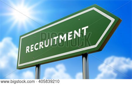 Recruitment Green Road Sign Against Clouds And Sunburst.3d Illustration