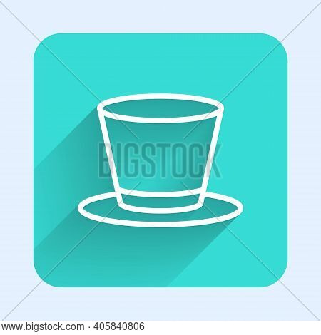 White Line Cylinder Hat Icon Isolated With Long Shadow. Green Square Button. Vector
