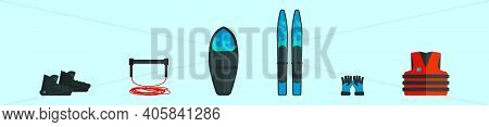 Set Of Water Skiing Cartoon Icon Design Template With Various Models. Modern Vector Illustration Iso