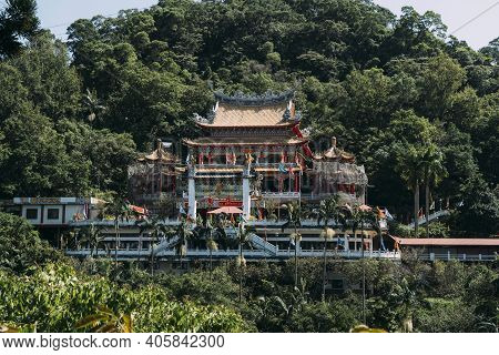Buddhist Temple Chih Nan Temple, Nestled In Forest On A Mountain In Taipei, Taiwan.