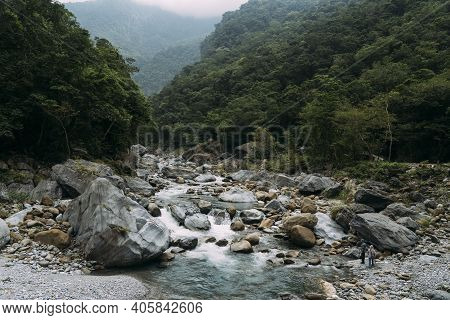 Stony River Bed With White Water In Taroko National Park, In Hualien Taiwan.
