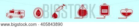 Set Of Blood Drive Cartoon Icon Design Template With Various Models. Modern Vector Illustration Isol