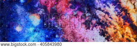 Abstract Colorful Watercolor For Background. Space Hand Painted Watercolor Background. Abstract Gala