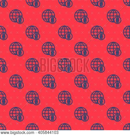 Blue Line International Law Icon Isolated Seamless Pattern On Red Background. Global Law Logo. Legal