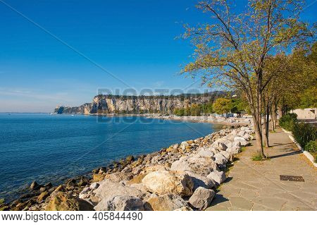 The Gulf Of Trieste, Friuli-venezia Giulia, North East Italy. Looking Towards Duino Castle In The Di