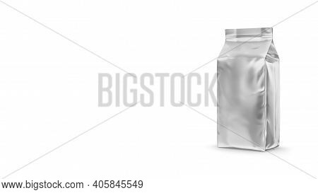 Blank Foil Food Or Drink Bag Packaging With Valve And Seal. Blank Foil Plastic Pouch Coffee Bag. Pac