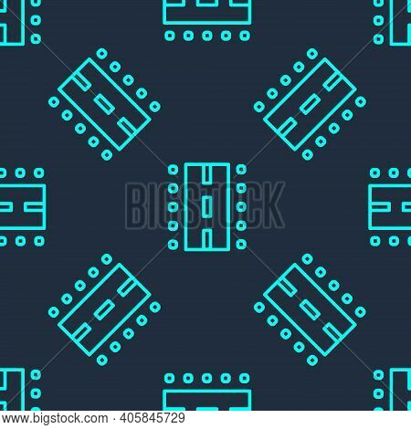 Green Line Airport Runway For Taking Off And Landing Aircrafts Icon Isolated Seamless Pattern On Blu