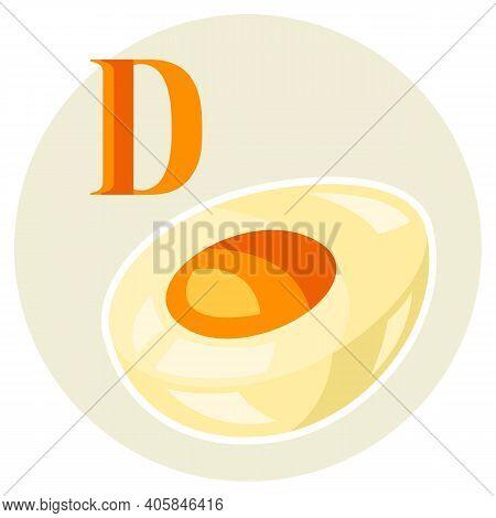 Illustration Of Stylized Egg. Cut Piece Icon. Food Product.