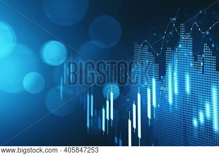 Concept Of Stock Market And Fintech Forex Concept. Blurry Blue Digital Charts Over Dark Blue Backgro