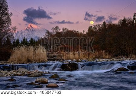 Krivan Mountain And Bela River At Sunset With Moon
