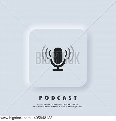 Podcast Icon. Microphone Icon. Logo, Application, User Interface. Podcast Radio Icons. Vector. Neumo