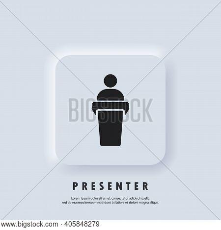 Speaker Icon. Speaker Speaking From The Podium. Training, Presentation Icon. Business Presentation I