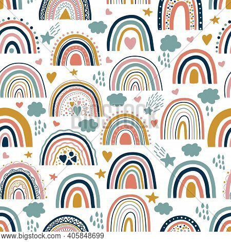 Nice Baby Neutral Bohemian Rainbows Seamless Pattern. Trend Rainbows Surface. Boho Rainbows For Baby