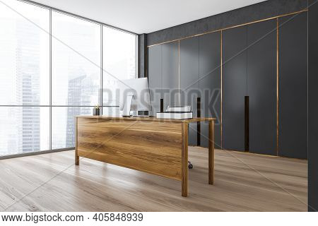 Wooden And Grey Office Cabinet With Wooden Table And Computer On Parquet Floor, Side View. Private O