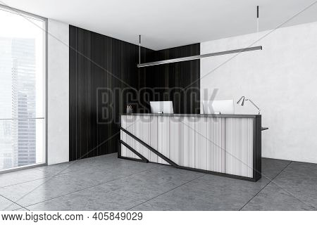 Grey And Wooden Reception Room With Two Computers, Tiled Marble Floor And Windows With City View, Si