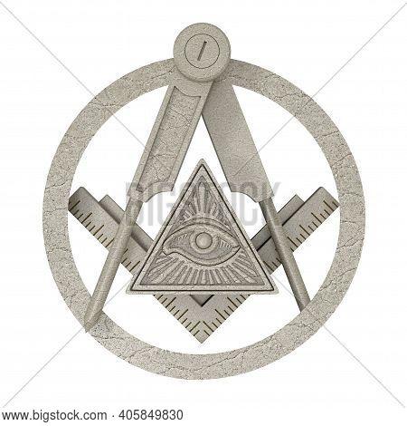 Masonic Freemasonry Stone Square And Compass With All Seeing Eye Inside Pyramid Triangle Emblem Icon
