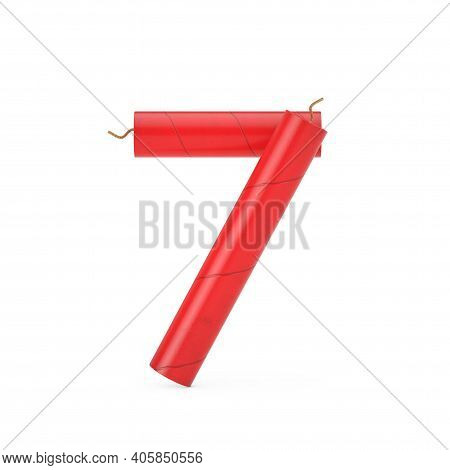 Number Seven Or 7 As Dynamite Sticks Alphabet Numbers Collection On A White Background. 3d Rendering
