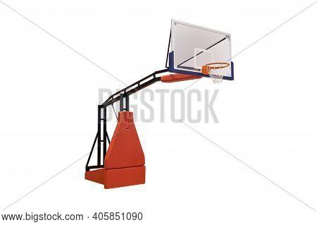 Basketball Backboard With Hoop Isolated On White Background