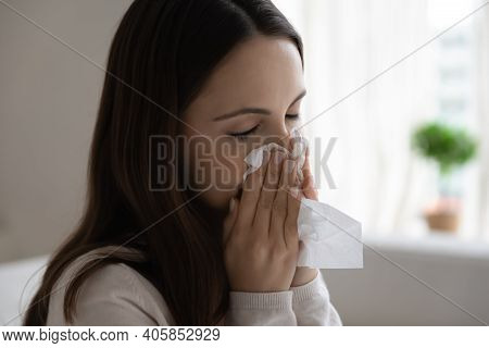 Unhealthy Woman Blow Nose Suffer From Cold