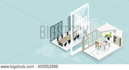 Work From Home Concept Is Presented In Isometric Style Of Home Office And Smarthphone With Video Con