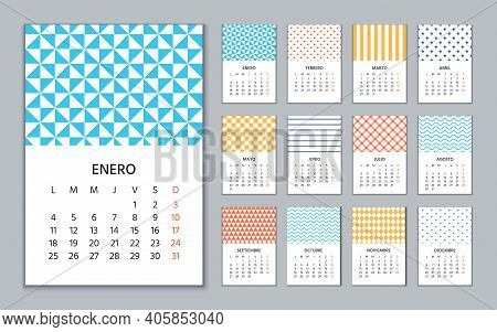 Spanish Calendar 2021 Year. Week Starts Monday. Wall Template Of Spain Calender. Stationery Layout W