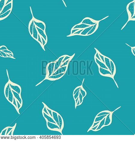 Lino Cut Style Leaf Seamless Vector Pattern Background. Botanical Vintage Outline Illustration Style