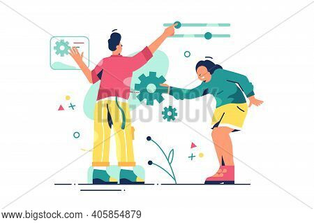 Colleagues Work On Customization Vector Illustration. Client Wishes Adjustment And Personal Approach