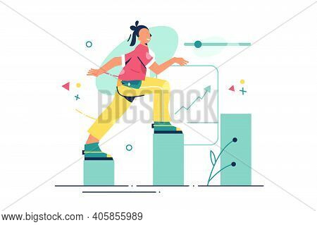 Woman Ascending On Chart Vector Illustration. Annual Growth Of Companies Financial Profit Flat Style