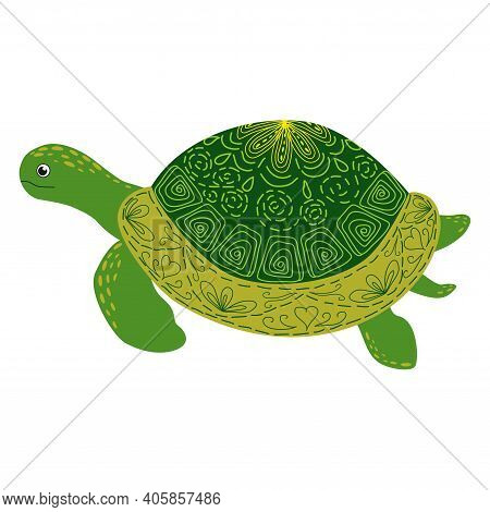 Scandinavian Style Green Turtle With Hand Painted Shell Pattern Hand Drawn.