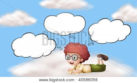 Illustration of a red hair boy in a beautiful sky