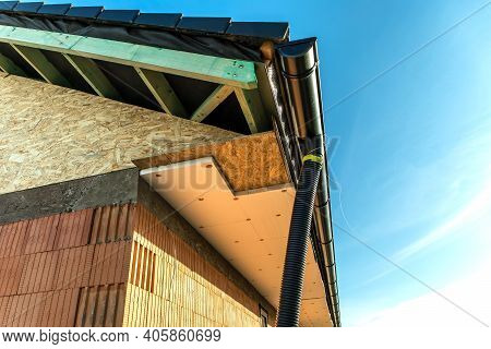 Styrofoam, Polystyrene Insulation Of Facade. Construction Of A Family House. Heat Insulation. Energy