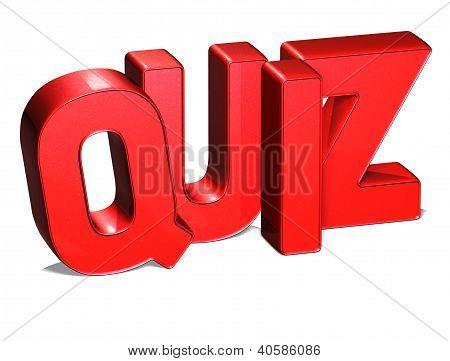 3D Word Quiz On White Background