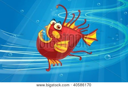 Illustration of a scary fish in the blue sea