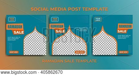 Social Media Post Template For Ramadan Month Promotion Sale. Green Social Media Template