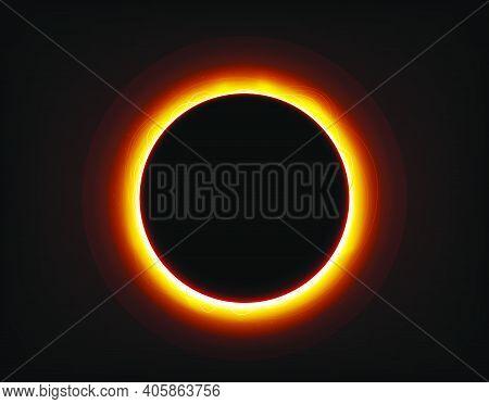 Solar Eclipse On Space Vector Illustration. Vector Illustration