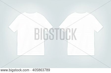 T-shirt Template With Short Sleeve. Shirt Mock Up Vector Set