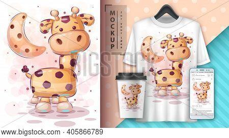 Big Giraffe - Poster And Merchandising. Vector Eps 10