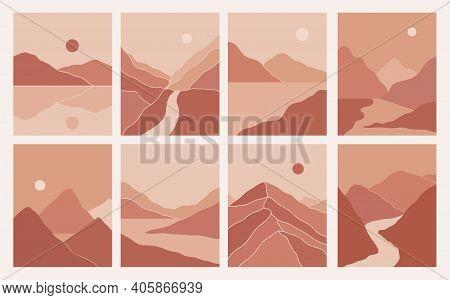 Modern Minimalist Abstract Mountain Landscapes Aesthetic Illustrations