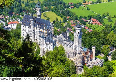 Neuschwanstein Castle, Germany, Europe. Aerial View Of Fairytale Castle In Munich Vicinity, Famous T