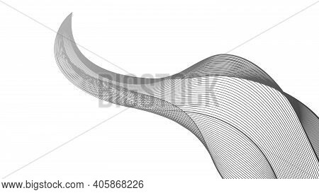Abstract Backdrop With Monochrome Wave Gradient Lines On White Background. Modern Technology Backgro