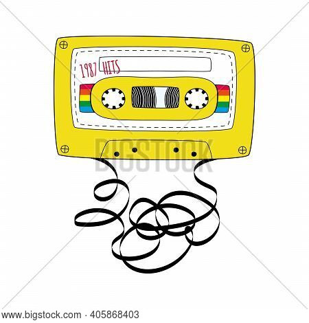 Yellow Compact Tape Cassette. Retro Audio Cassette Tape In Doodle Style Isolated On A White Backgrou