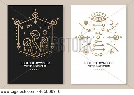 Esoteric Symbols, Poster, Flyer. Vector. Thin Line Geometric Badge. Outline Icon For Alchemy Or Sacr